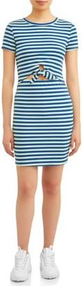 Eye Candy Juniors' T-Shirt Dress with Tie Dront Dress