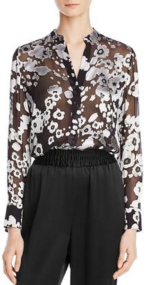 Alice + Olivia Belle Mandarin-Collar Floral-Print Blouse $330 thestylecure.com