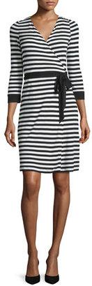 Diane von Furstenberg 3/4-Sleeve Striped Wrap Dress $368 thestylecure.com