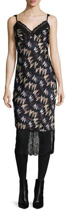 Diane von Furstenberg Margarit Printed Slip Dress, Army of Hearts Wild Rose/Black $398 thestylecure.com