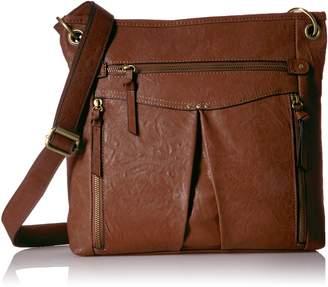 Bueno of California Multiple Zip Pocket Shoulder Bag in Med Brown