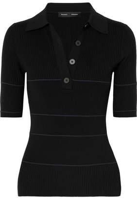 Proenza Schouler Ribbed Silk-blend Polo Top - Black