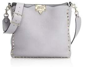 Valentino Rockstud Grained Leather Small Hobo Bag