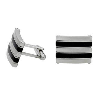 Asstd National Brand Stainless Steel and Black Rubber Cuff Links