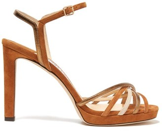 Jimmy Choo Lilah 100 Crossover Strap Suede Sandals - Womens - Tan Gold