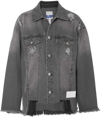 Sjyp Distressed Denim Jacket - Gray