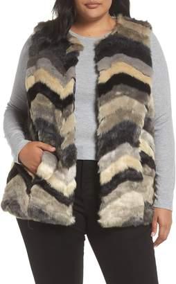 SINGLE THREAD Chevron Faux Fur Vest