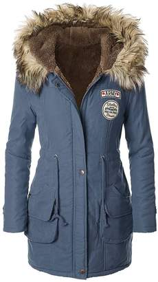 American Trends Women's Faux Fur Lined Hooded Outdoor Winter Parka Coats Long Jacket