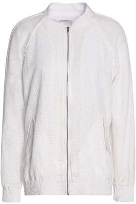 Equipment Kendrix Broderie Anglaise Silk Crepe De Chine Bomber Jacket