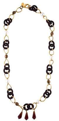 Erickson Beamon Faux Pearl & Wood Link Chain Necklace