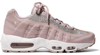 Nike Air Max 95 Glittered Leather And Suede Sneakers - Pastel pink