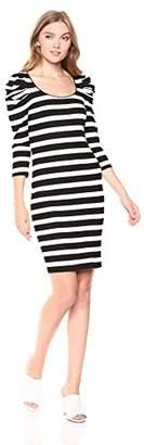 Three Dots Women's OZ5857 Alpine Stripe Puff SLV Dress