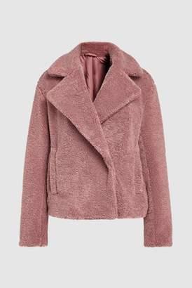 Next Womens Pink Short Teddy Borg Coat