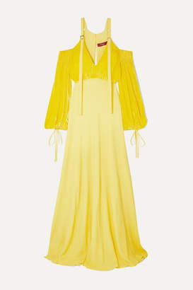 Sies Marjan Carter Cold-shoulder Georgette And Corduroy Gown - Yellow