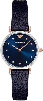 Emporio Armani Women's Gianni T-Bar Blue Leather Strap Watch 32mm AR1989 $245 thestylecure.com