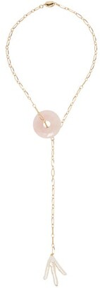 Timeless Pearly - Pearl And Stone Pendant Choker - Womens - Gold
