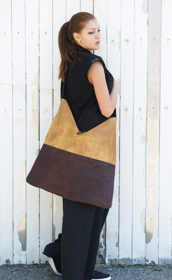 Etsy Brown and Yellow Bag / Shoulder Woman Bag / Designer Bag / Brown Bag / Brown Shoulder Strap by METAM