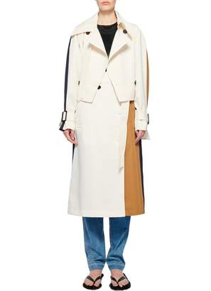 Tibi Recycled Techy Twill Color Block Detachable Trench