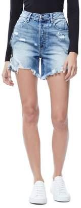Good American The Bombshell High Waist Distressed Denim Shorts