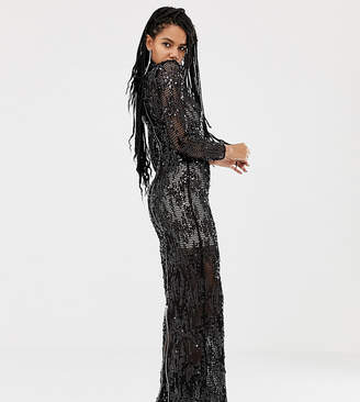 Asos Design DESIGN x LaQuan Smith funnel neck embellished maxi dress