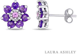 Laura Ashley FINE JEWELRY Genuine Purple Amethyst Sterling Silver Flower Ear Pins