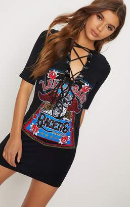PrettyLittleThing Racers Black Lace Up T Shirt Dress