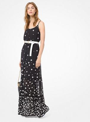 Michael Kors Floral Embellished Georgette Maxi Dress