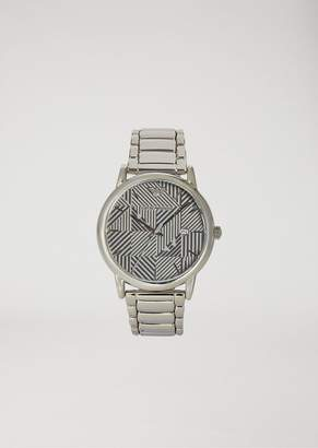 Emporio Armani Stainless Steel Watch With Patterned Dial And Three-Chain Strap