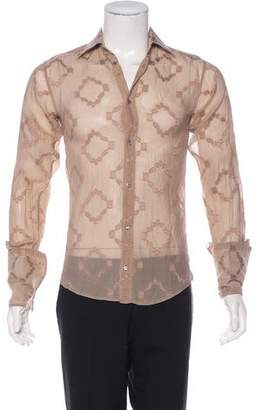 Gucci French Cuff Embroidered Silk Shirt