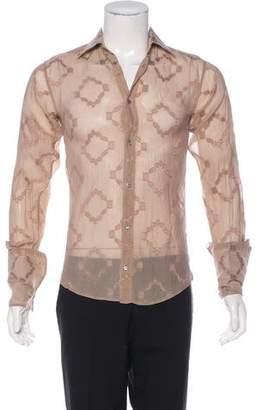 Gucci French Cuff Embroidered Silk Shirt