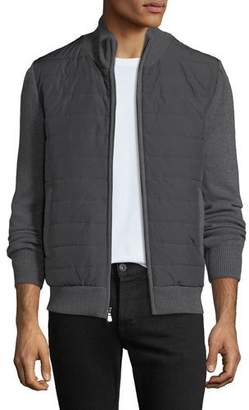 Neiman Marcus Men's Quilted Water-Repellent Jacket with Knit Trim, Gray