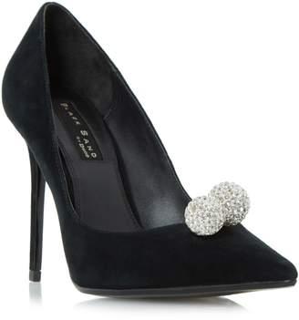 Dune LADIES BUCKINGHAMM - Black Sand Embellished Ball Detail Court Shoe