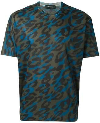 DSQUARED2 blurred leopard print T-shirt