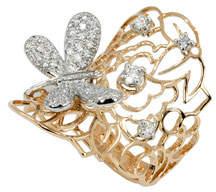 Fratelli Staurino 18k Moresca Dragonfly Ring w/ Diamonds, Size 7.5