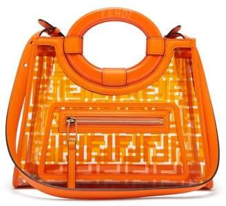 Fendi Runaway Small Logo Print Leather & Pvc Bag - Womens - Orange Multi