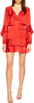 Bardot Donna V-Neck Long-Sleeve Tiered Ruffle Dress