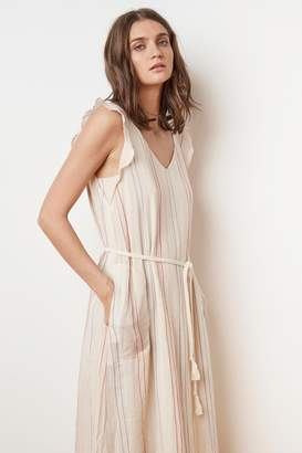 Velvet by Graham & Spencer KEVINE CALICO STRIPE BELTED V-NECK DRESS