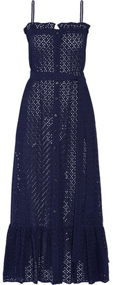 Lisa Marie Fernandez - Ruffled Broderie Anglaise Cotton Maxi Dress - Navy $695 thestylecure.com
