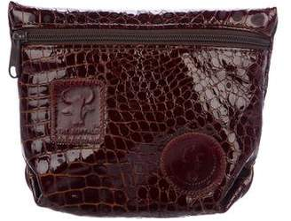 Carlos Falchi Embossed Leather Zip Pouch