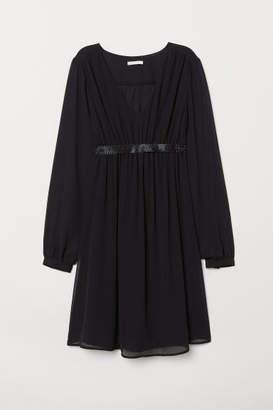 H&M MAMA Dress with Sparkly Belt - Black