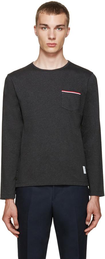 Thom Browne Grey Pocket T-Shirt