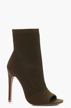 boohoo Knitted Peeptoe Shoe Boots