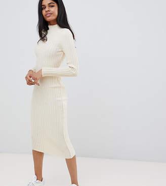 Asos DESIGN Petite midi dress in ribbed knit