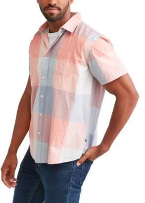 Cherokee Big Men's Plaid Short Sleeve Button Down Woven Shirt