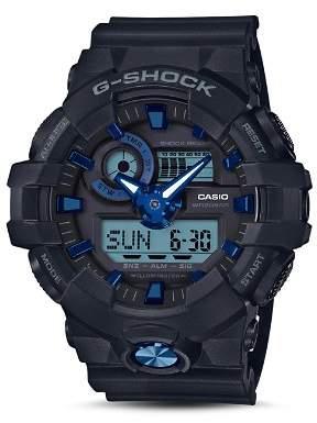 G-Shock Front Button Black & Blue Watch, 53.4mm