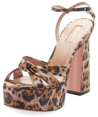 Aquazzura Baba Plateau Leopard Fabric Platform Sandal