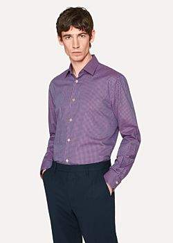 Paul Smith Men's Tailored-Fit Purple Check Cotton 'Artist Stripe' Cuff Shirt