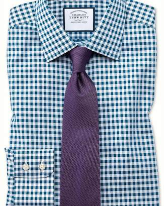 Charles Tyrwhitt Slim fit non-iron gingham teal shirt