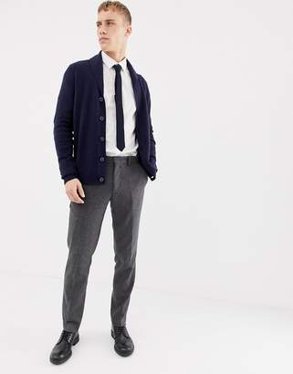 Asos Design DESIGN lambswool shawl cardigan in navy