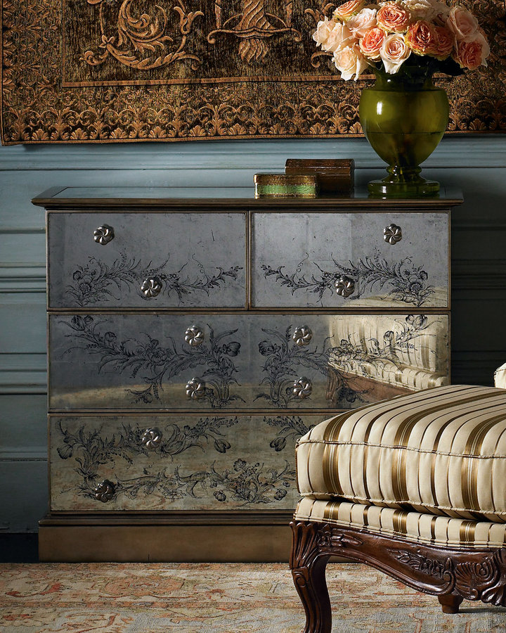 Antiqued Mirrored Chest